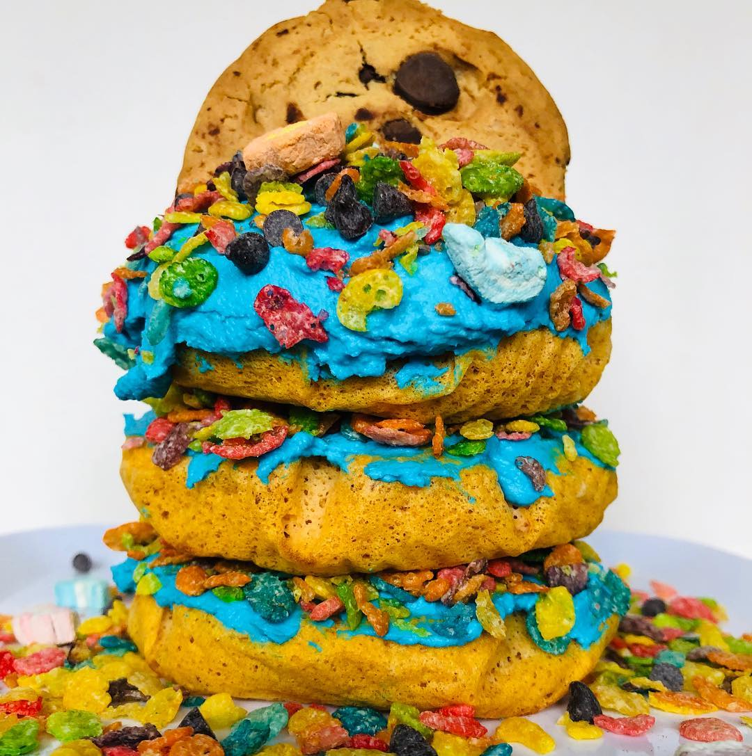 CHOCOLATE CHIP FRUITY PEBBLES FUNNEL CAKE