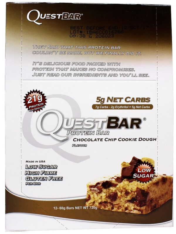 Quest Bar, Chocolate Chip Cookie Dough - 12 bars