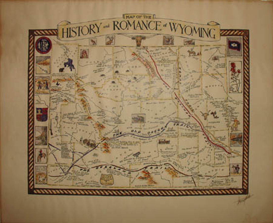This is a hand colored map depicting historical events in Wyoming with narrative. The map was created by Grace Raymond Hebard in 1936, soon before her death. It is autographed by historian Grace Raymond Hebard in the lower right corner.