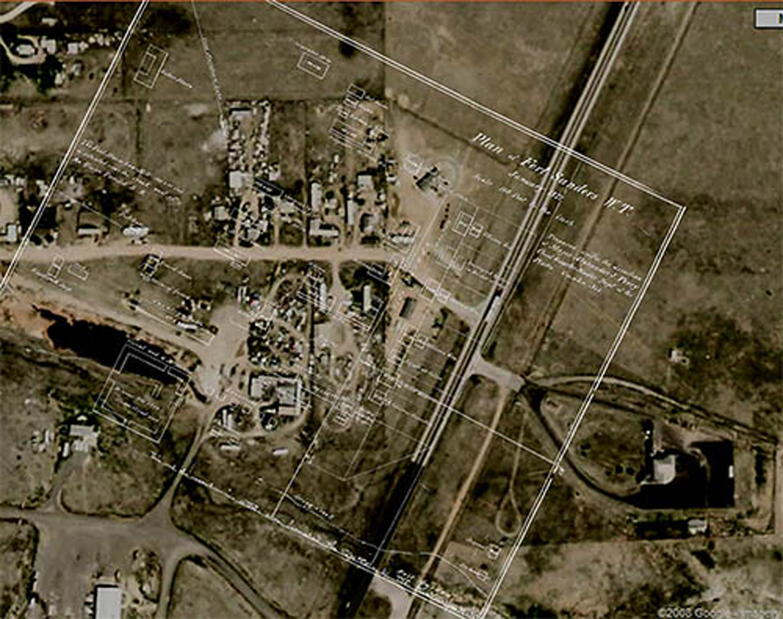 This is a modern aerial view in Laramie, WY of the Fort Sanders property where the building of the Fort were located. Placed on top of the aerial is a drawn layout of Fort Sanders buildings so we can see where on the property these building once stood.
