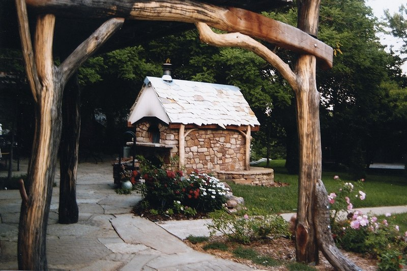 Wood fired bread oven. Rustic Entryway.