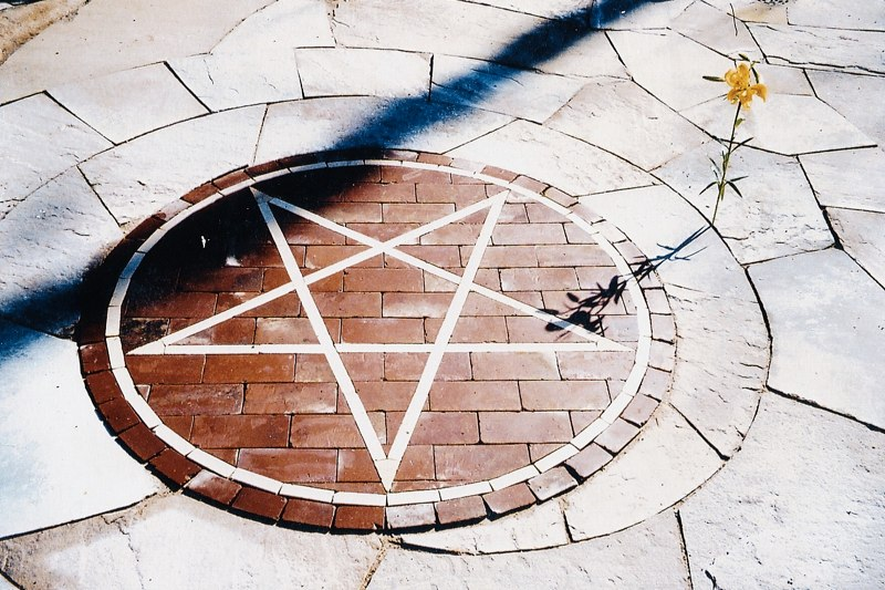 Fire circle in formal garden.