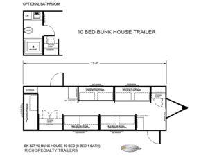 BK 827 V2 LIT 10 BED BUNK HOUSE TRAILERS