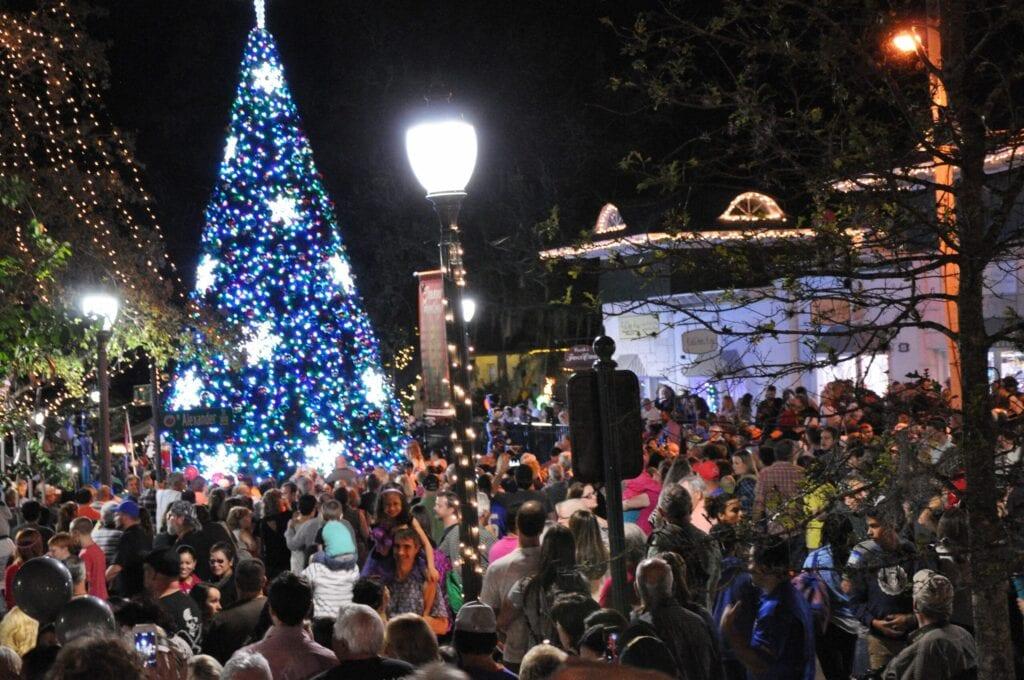 big lit xmas tree