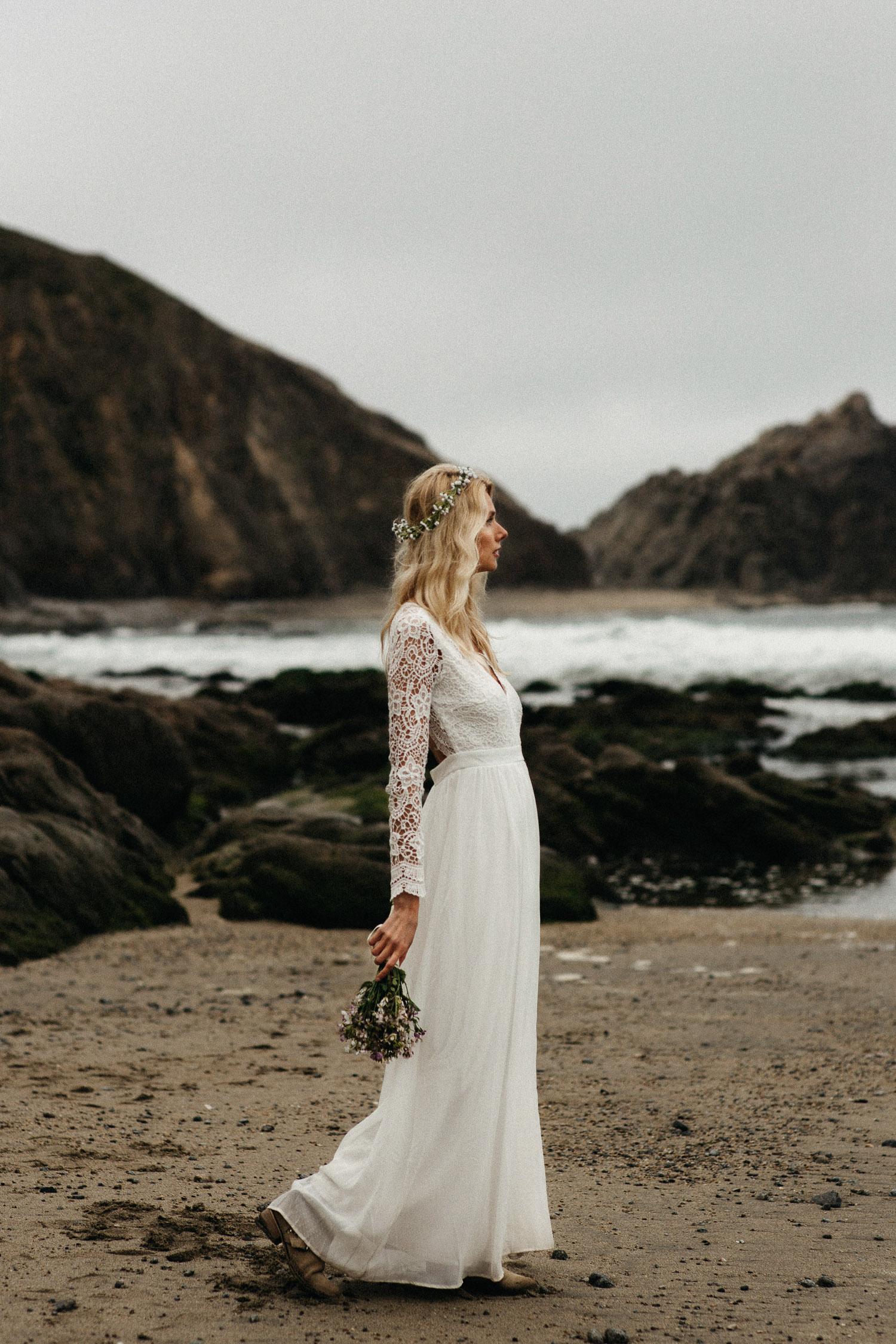 Image of bride portrait on beach