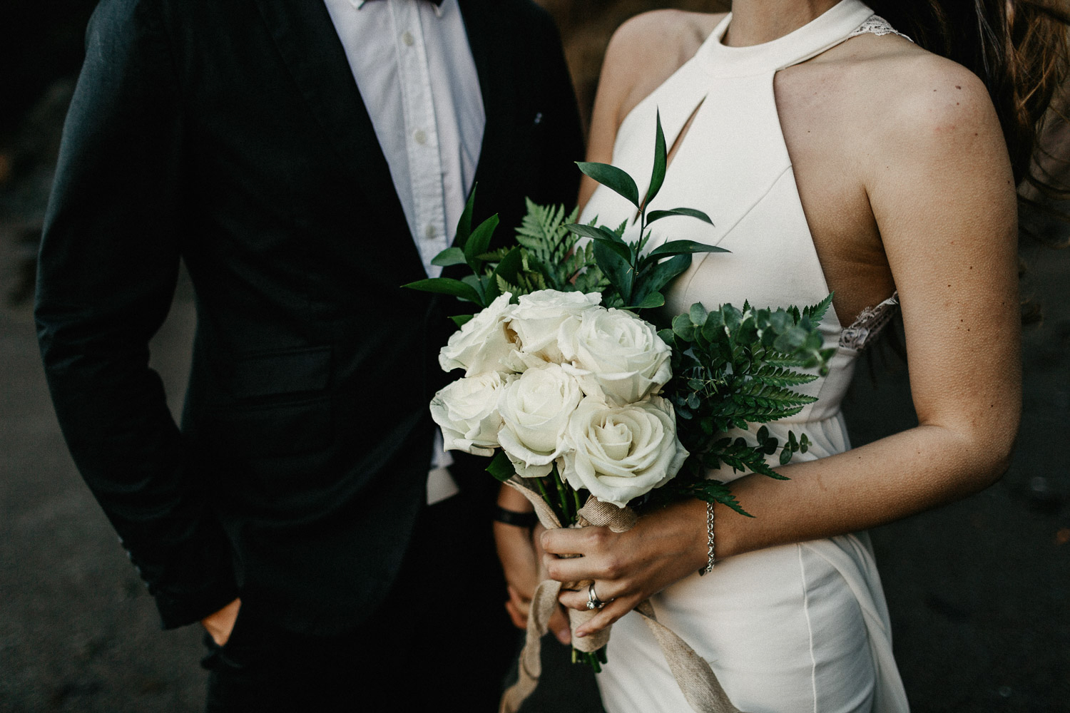 Image of details of boho style elopement bouquet