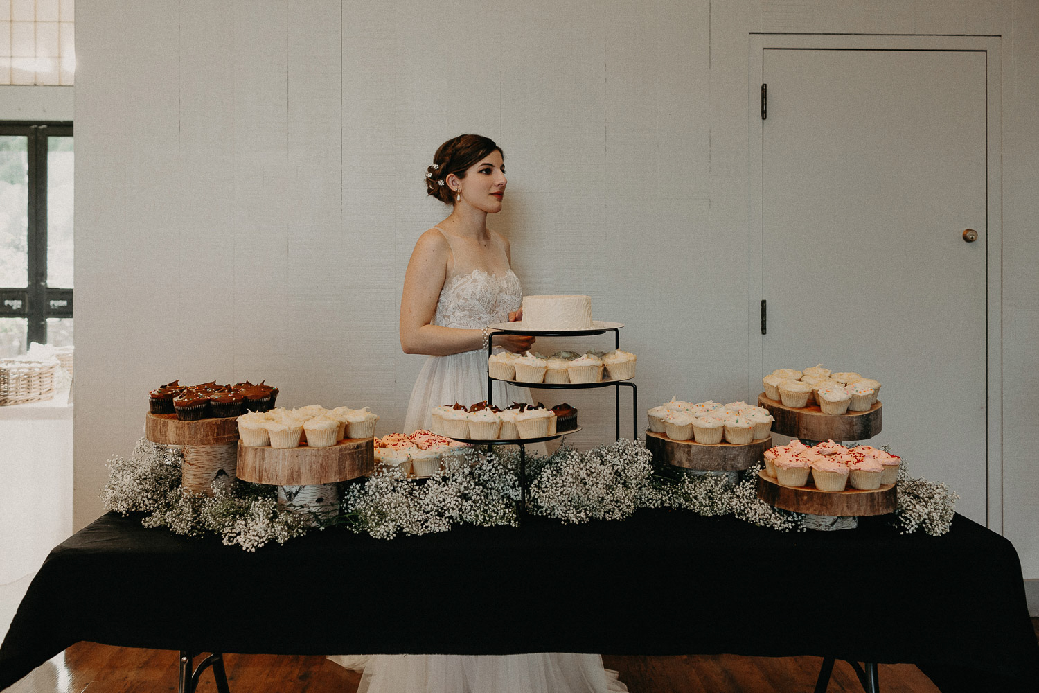 Image of bride and wedding cakes