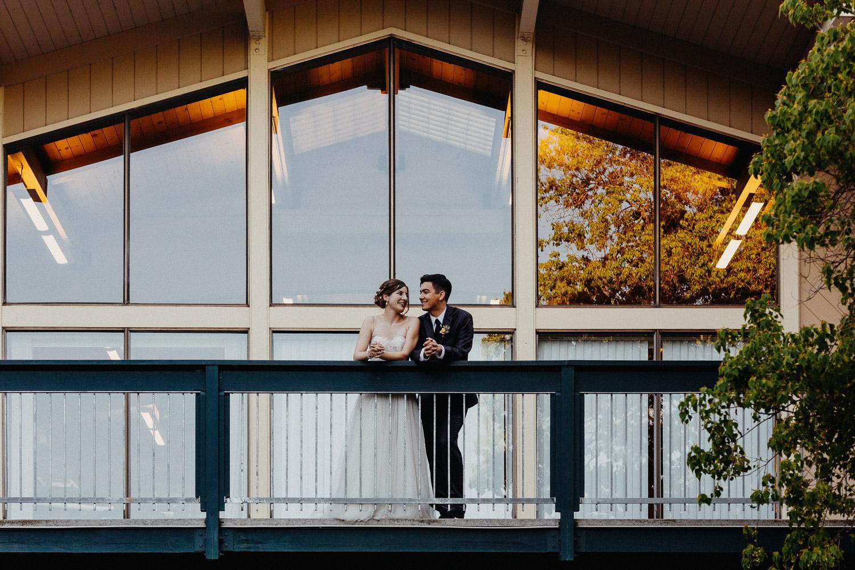 Image of bride and groom at wedding venue