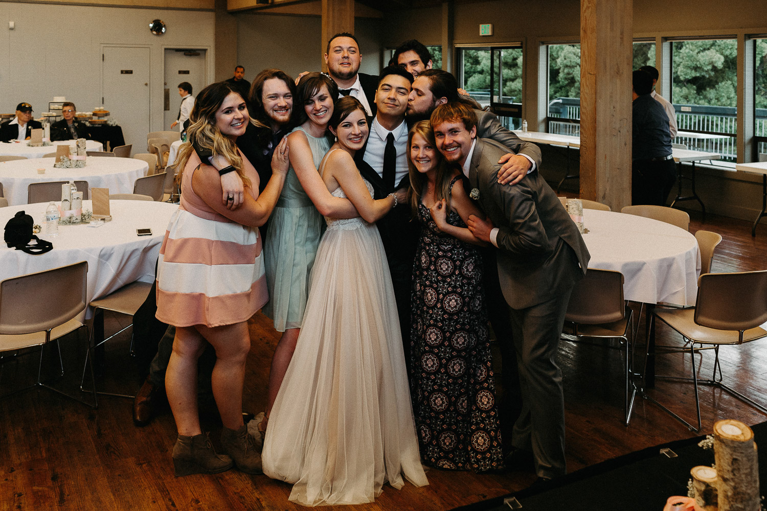 Image of wedding party at wedding reception