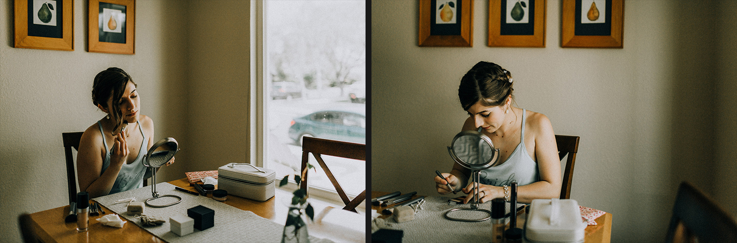Image of bride puts on makeup at home