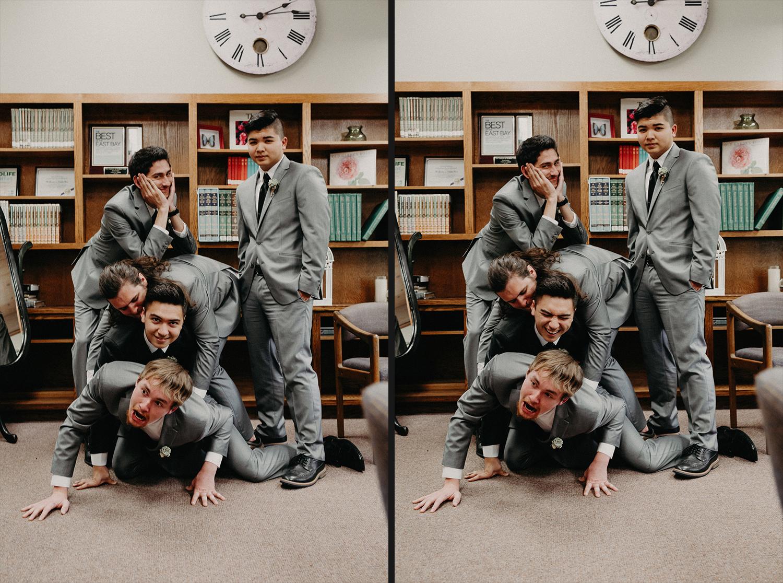Image of groom and groomsmen have fun