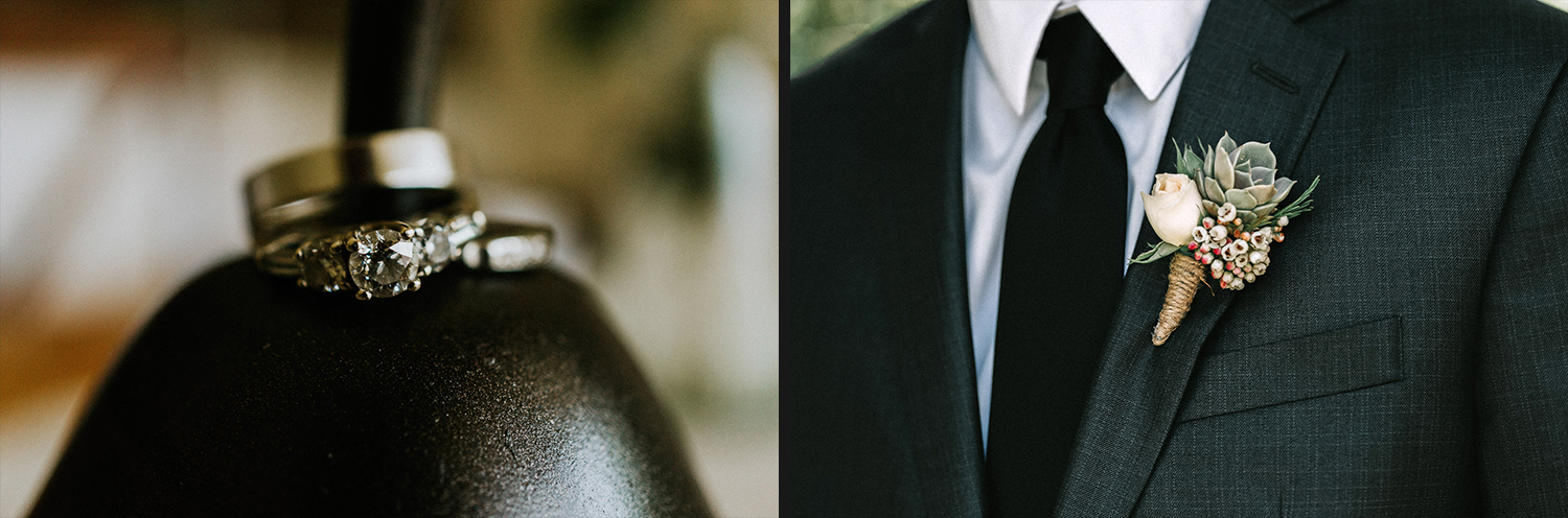 Image of wedding ring and wedding boutonniere