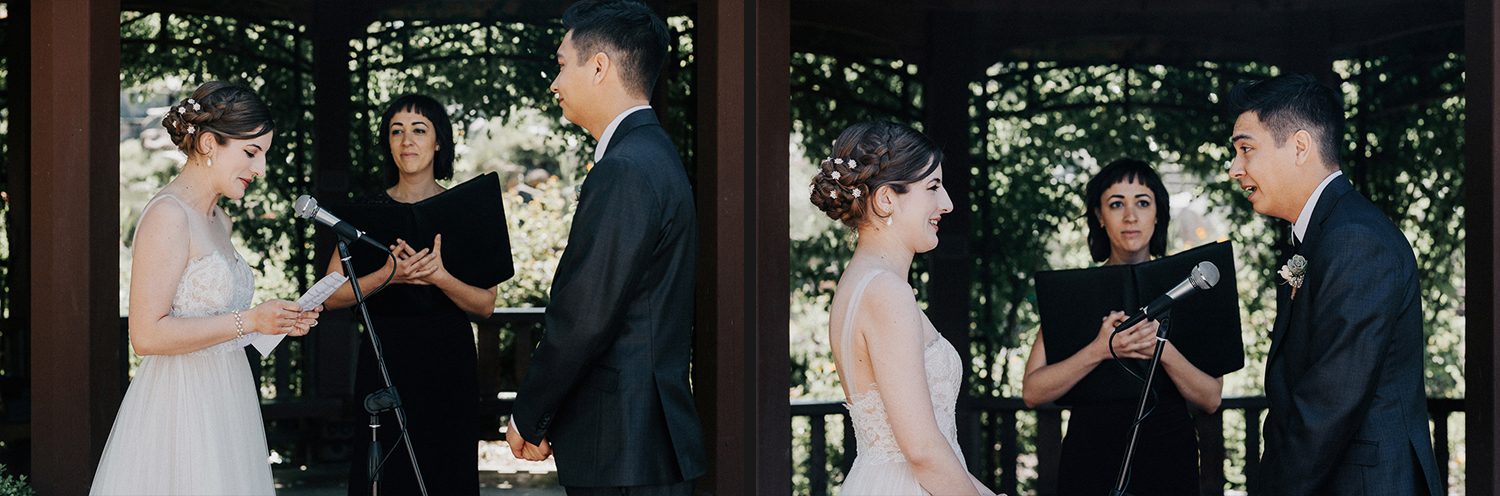 Image of bride and groom read vows on ceremony