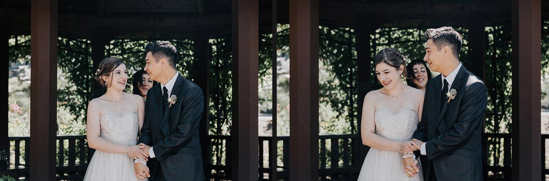 Image of bride and groom walk together after ceremony