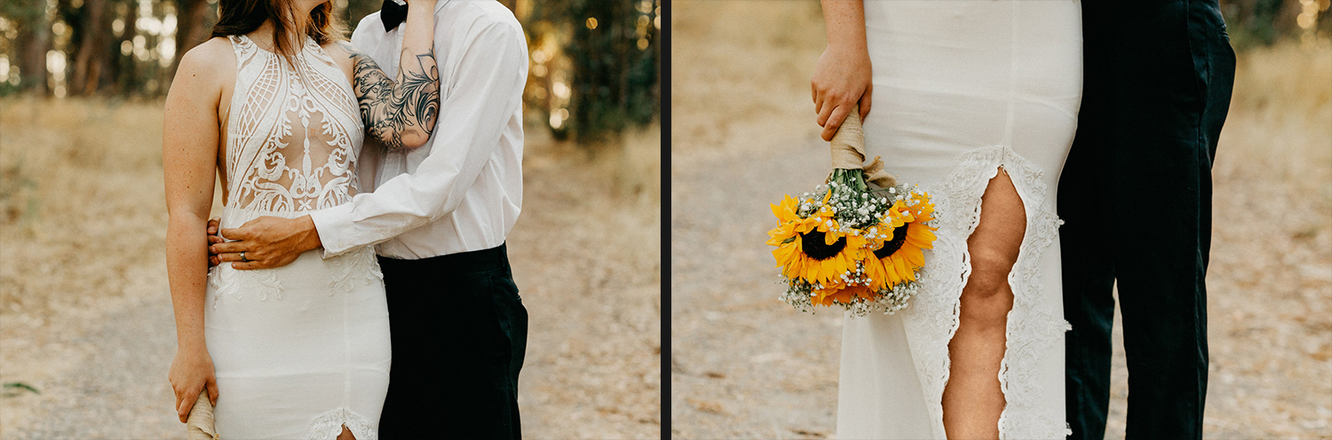 Image of groom holding bride and elopement bouquet