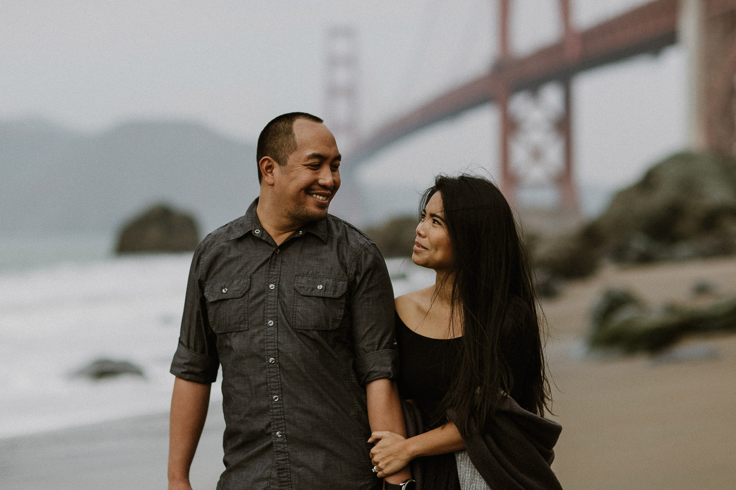 Image of Asian Couple Smiles to Each Other