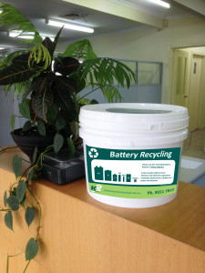 battery recycling bucket reception