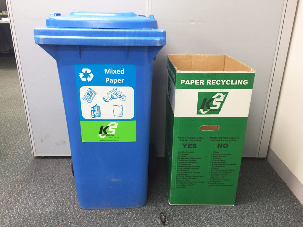 sustainable office clean up - bins