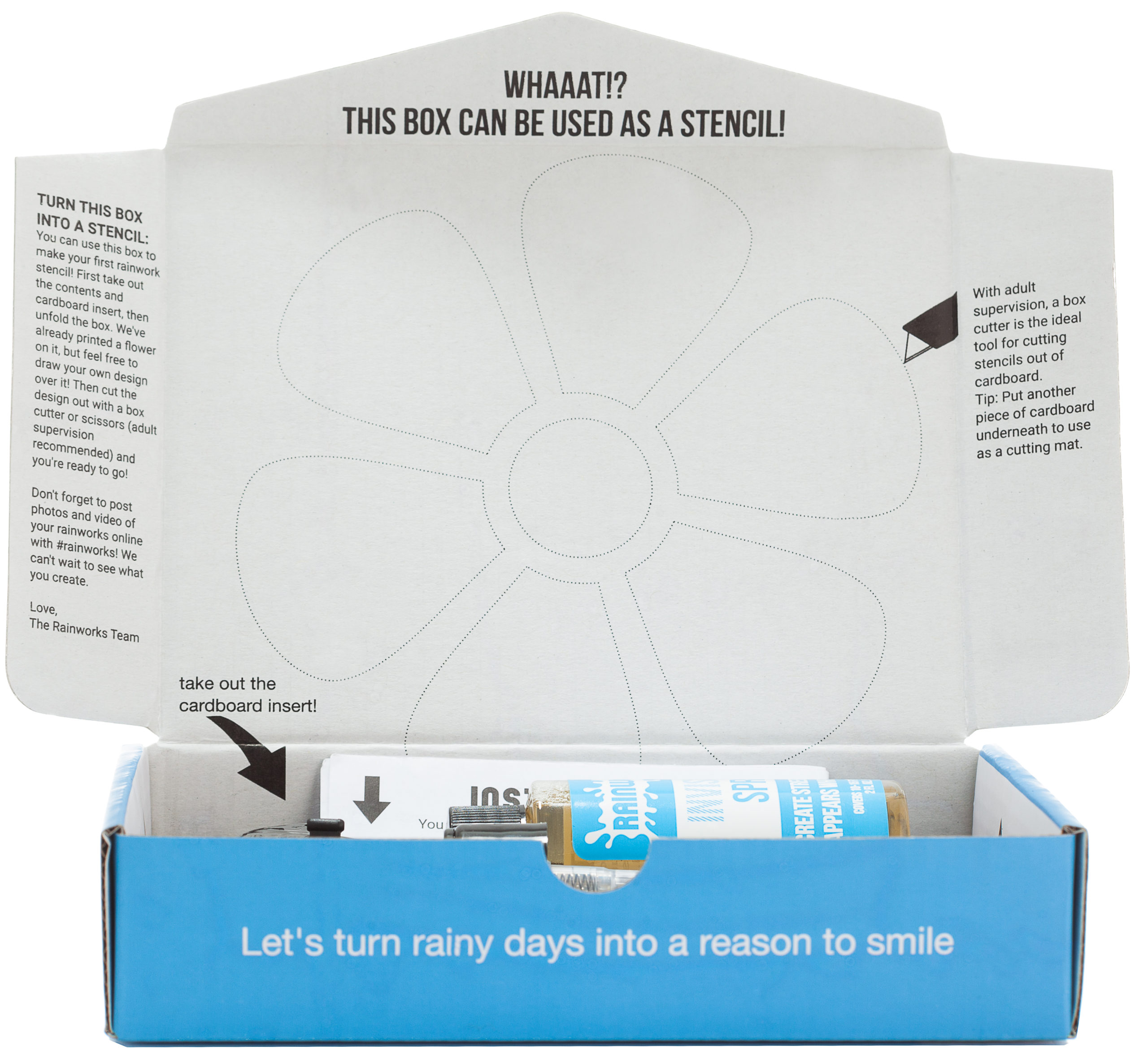 Rainworks Invisible Spray Street Art Kit - opened