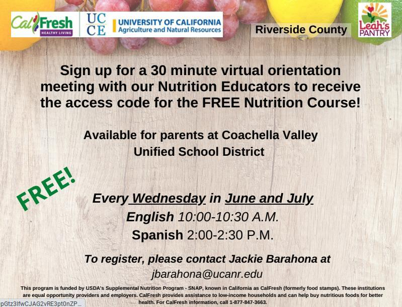 Sign up for a 30 minute virtual orientation meeting with our Nutrition Educators to receive the access code for the FREE Nutrition Course!