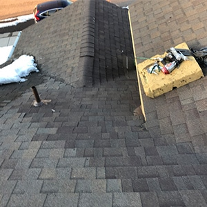 Roof Repair - Castle Rock Ice Damm material on roof