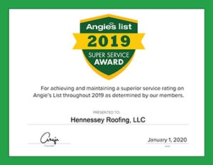 Angies List 2019 Superior Service Award for Hennessey Roofing in Colorado Springs, CO