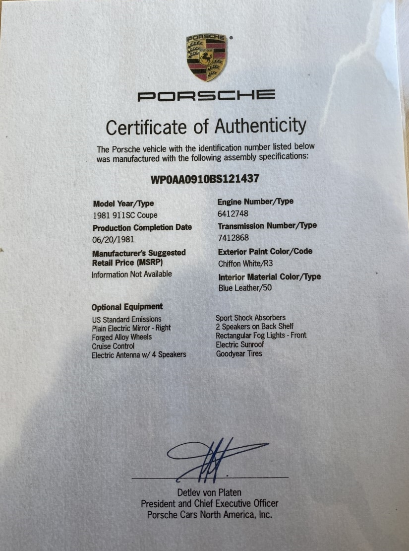 1981 Porsche 911 SC Rare Chiffon White Blue Leather -Matching Numbers – Certificate of Authenticity