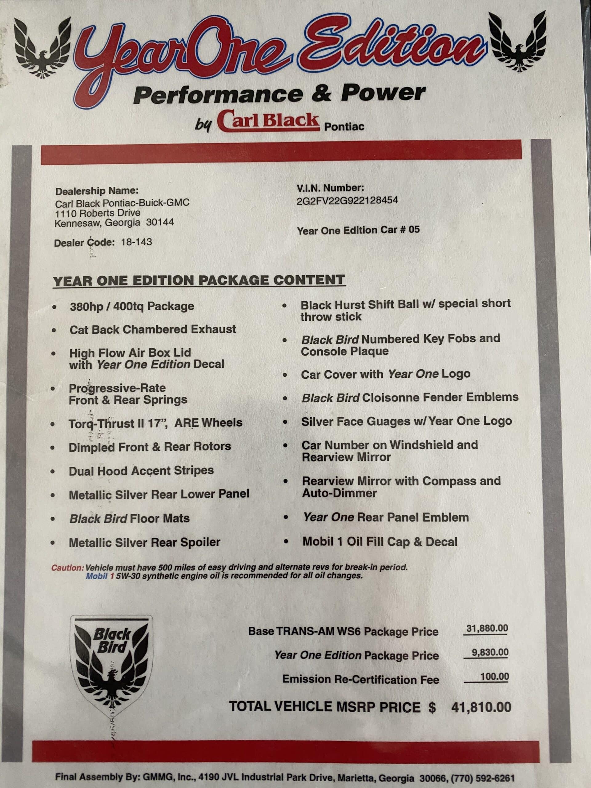 2002 Pontiac Trans Am WS6 Carl Black Blackbird All Original – #5 of 8 Year one editions -Original Window Sticker ONLY 14K MILES