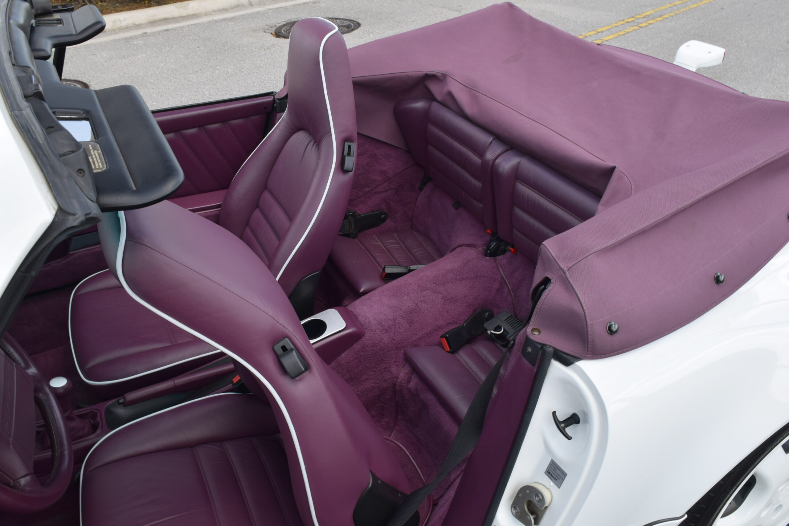 1991 Carrera 2 Cabrio, Interior to sample Full leather Magenta, Supercharged, LSD, Cups