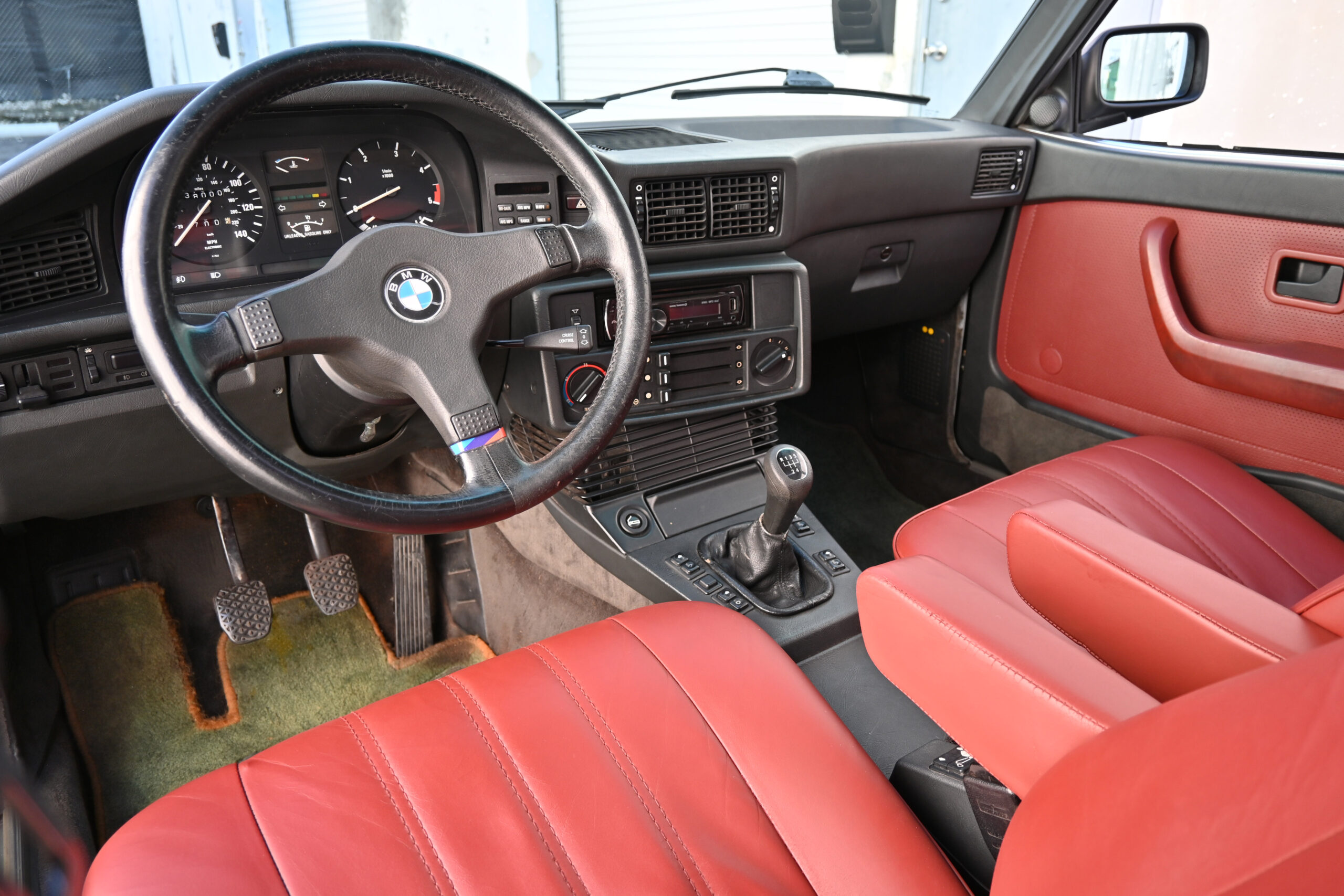 1987 BMW 528e, Manual 5-speed, Salmon Silver over red leather, serviced.