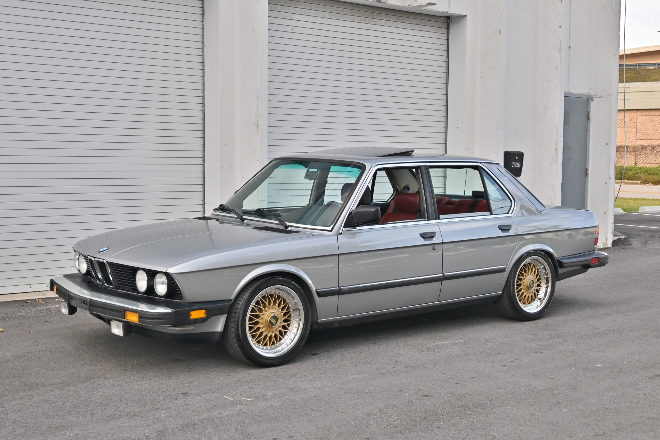 1987 BMW 528e, Manual 5-speed, Salmon Silver over red leather, Euro Height, BBS Wheels Just serviced.