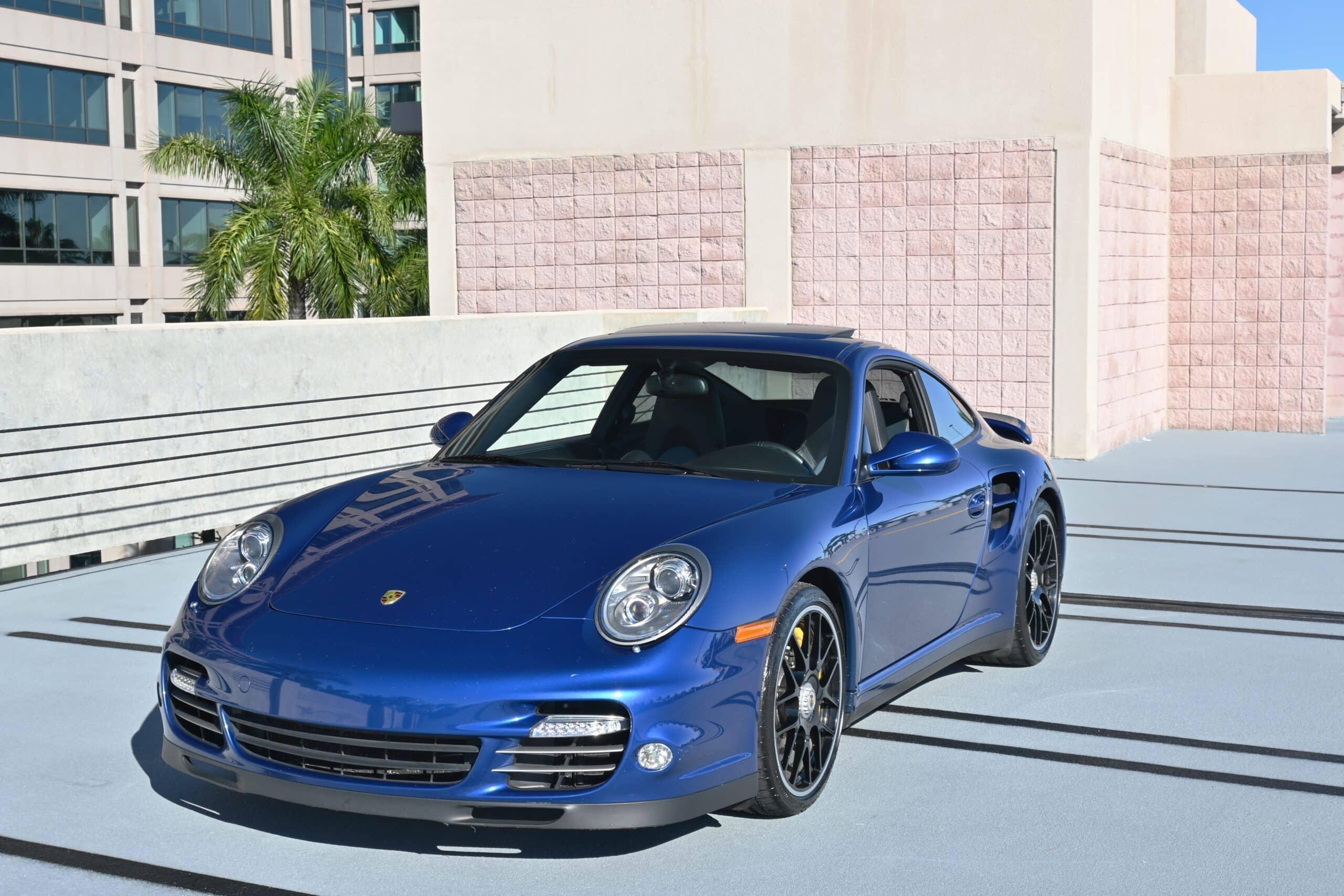 2012 Porsche 911 Turbo S 997.2 1 Owner-Original Aqua Blue Metallic-Sport Seats-Carbon Brakes-Original sticker