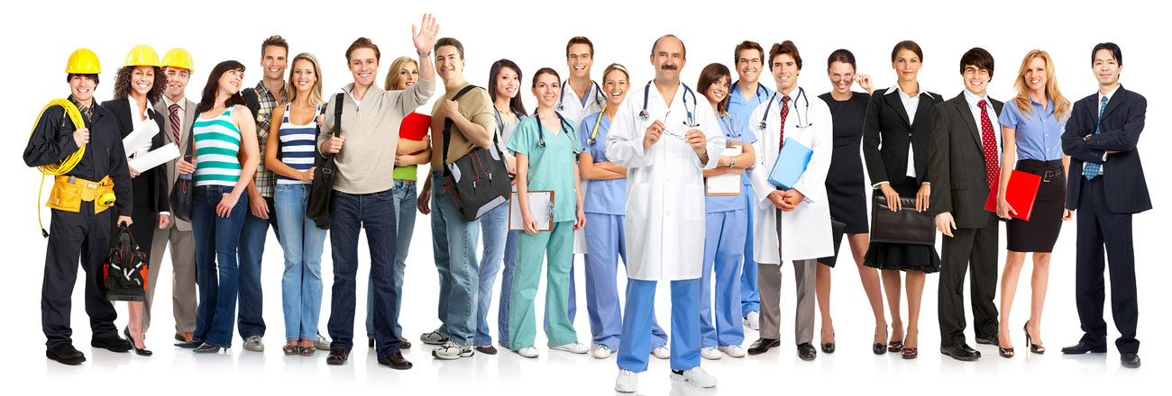 Happy employees standing together