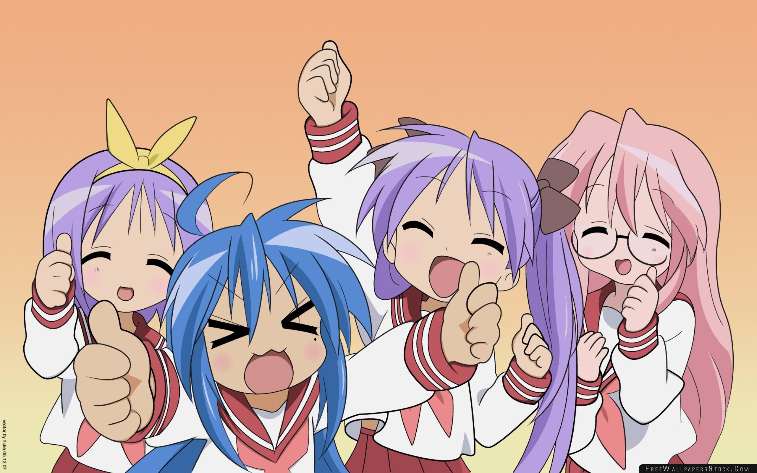 Download Free Wallpaper Anime Girls Crowd Emotion Laughter Surprise