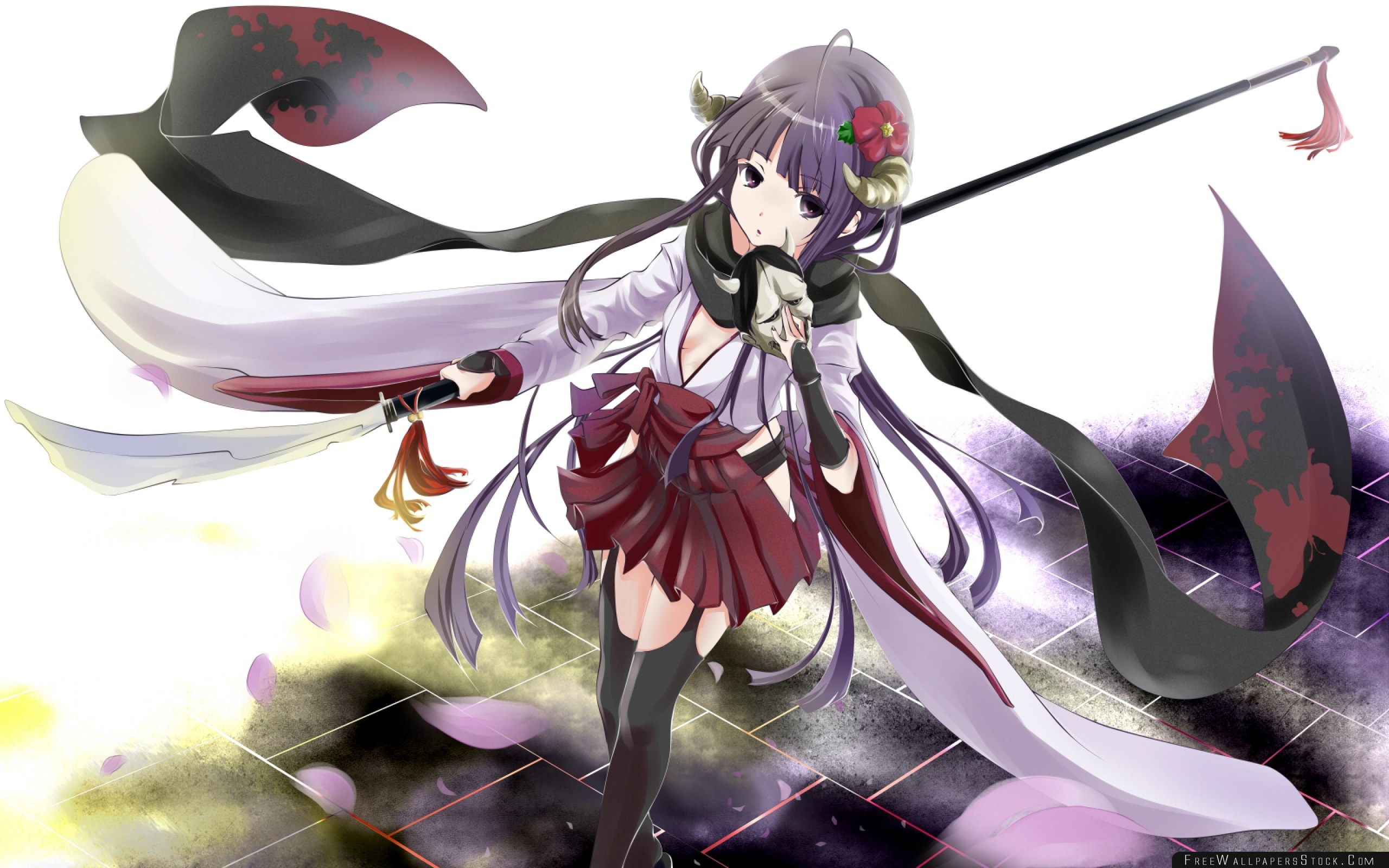 Download Free Wallpaper Anime Girl Brunette Scarf Step Wind
