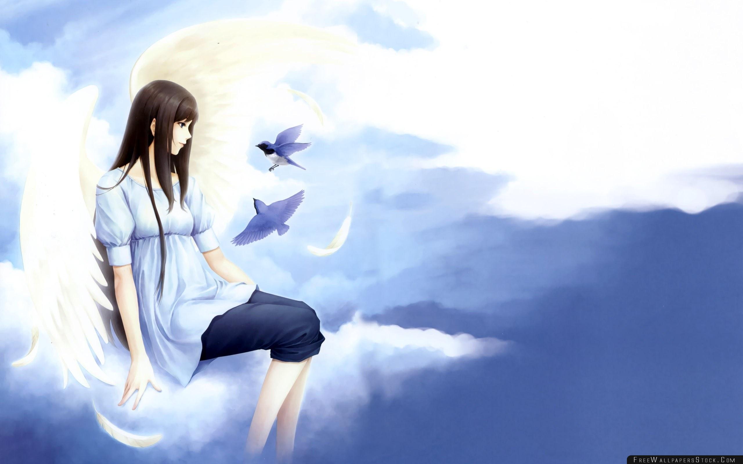 Download Free Wallpaper Anime Girl Brunette Sky Birds Flying