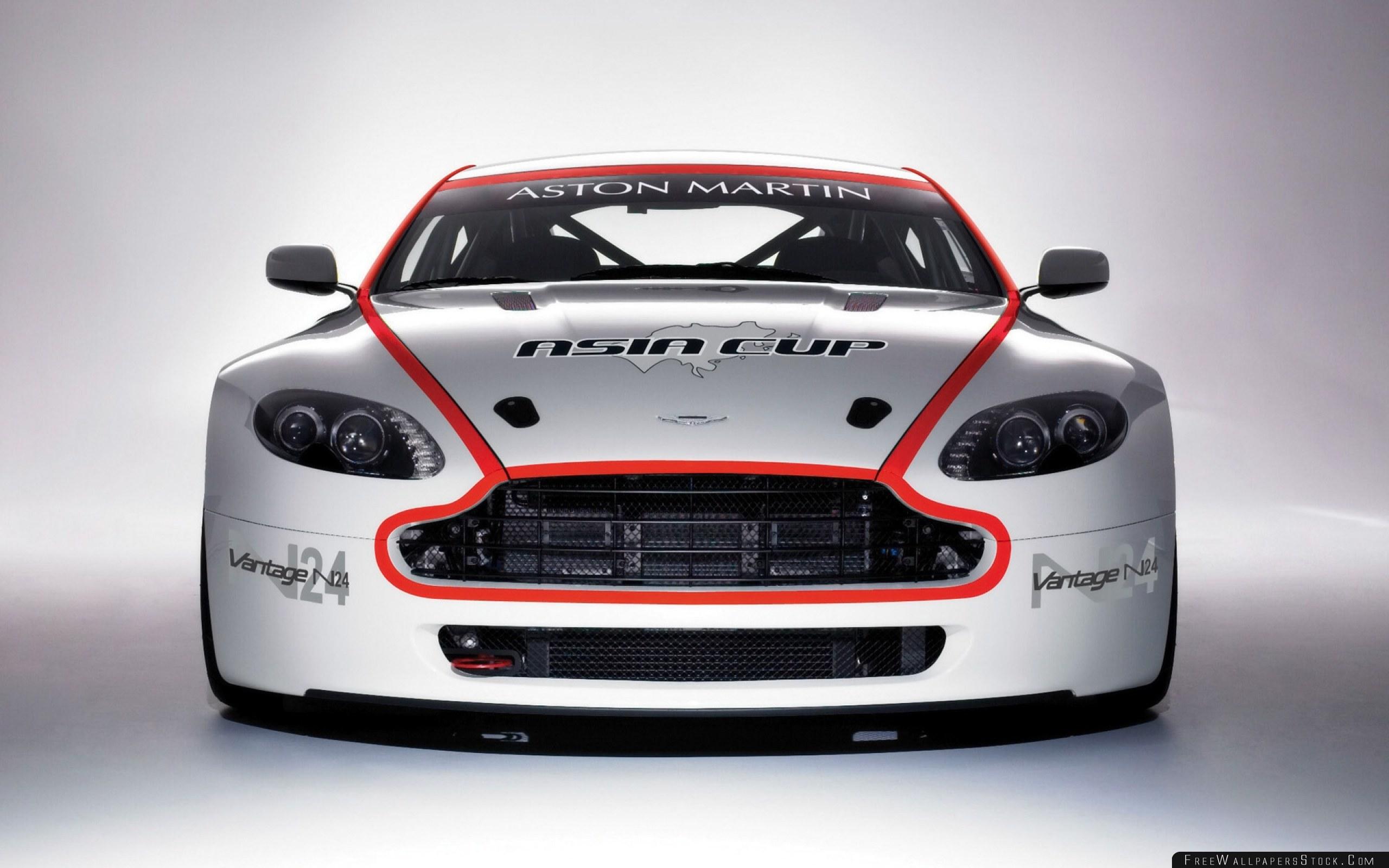 Download Free Wallpaper Aston Martin   Vantage White Front View Style Car