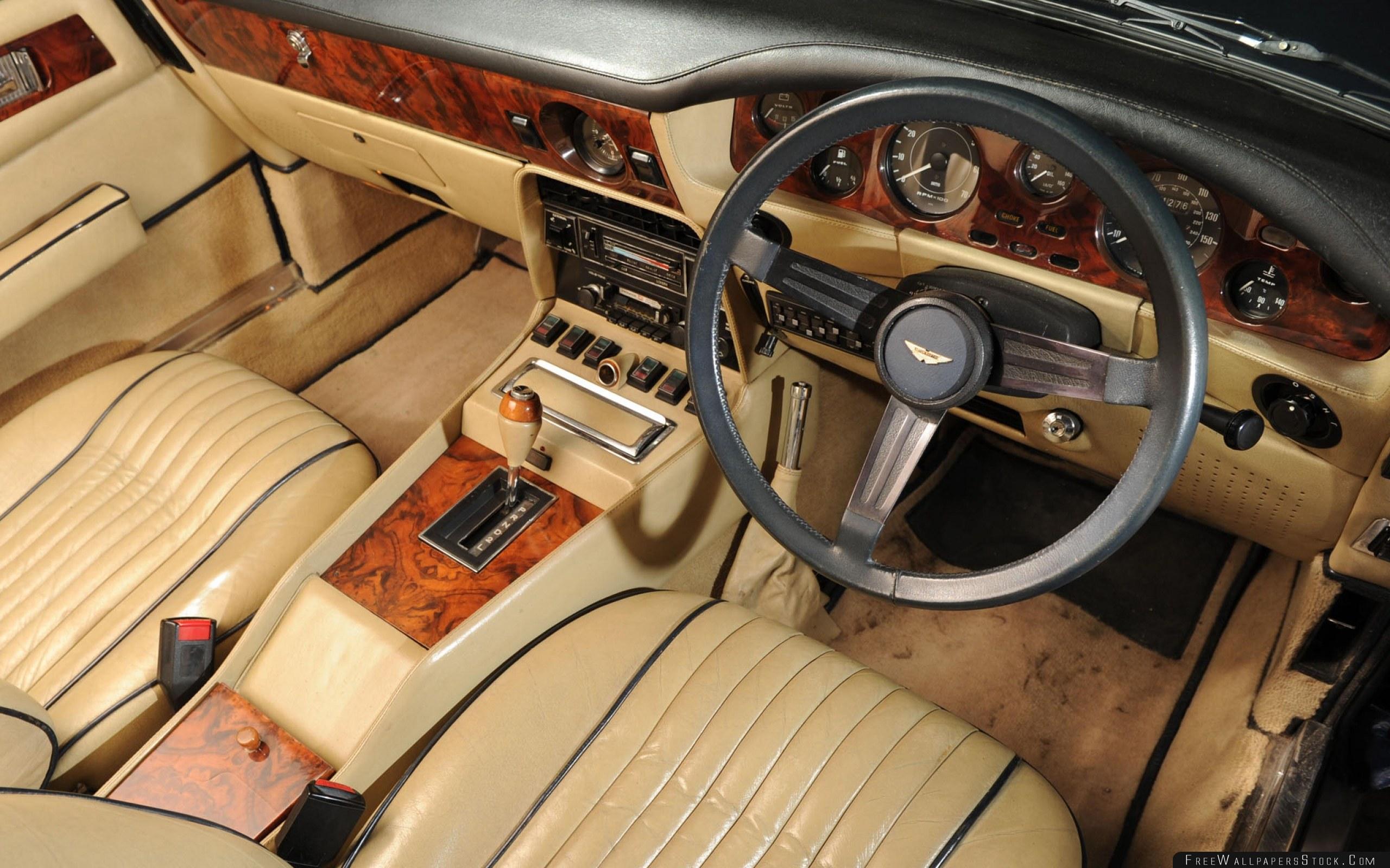 Download Free Wallpaper Aston Martin   Volante Beige Salon Interior Steering Wheel Speedometer