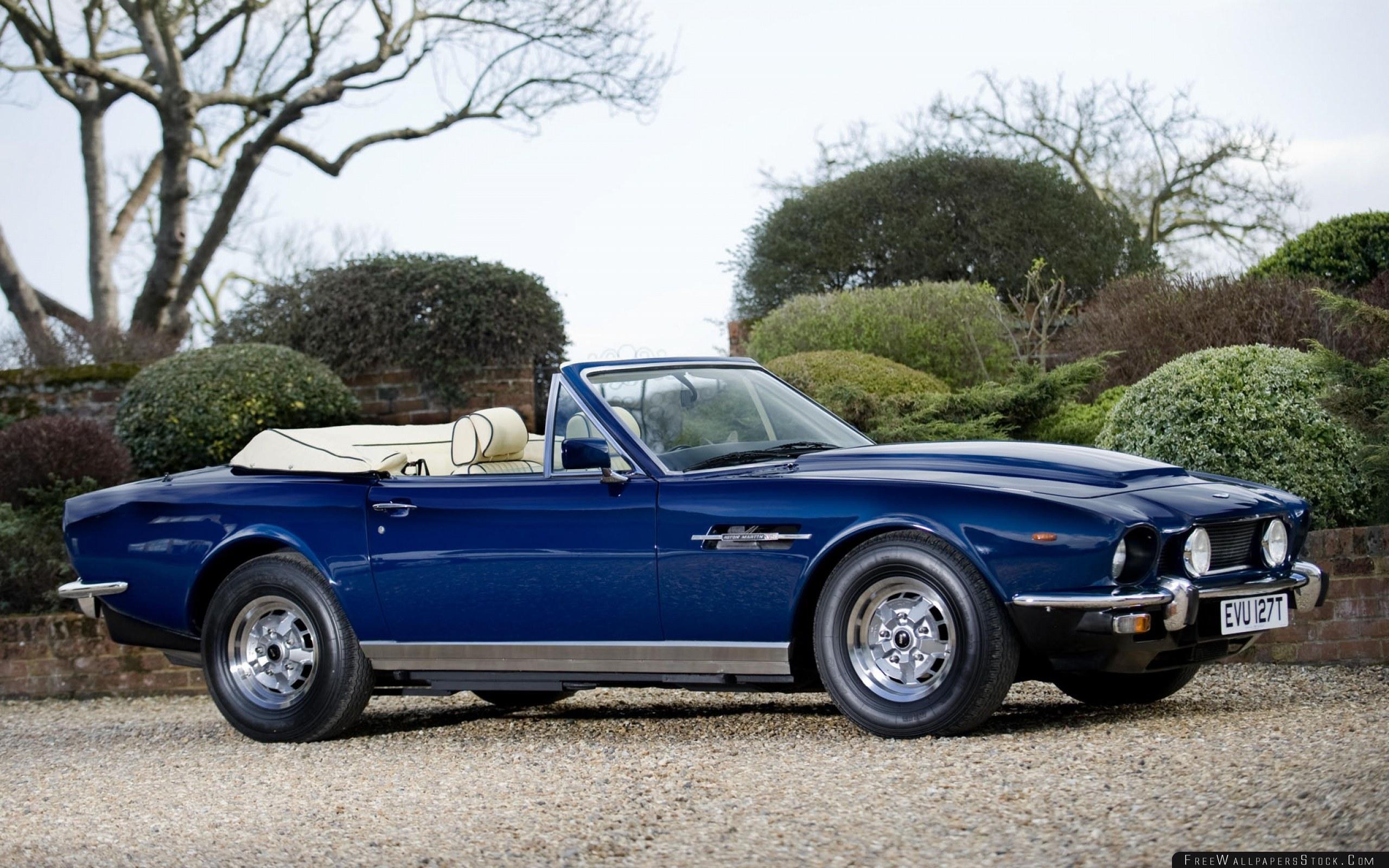 Download Free Wallpaper Aston Martin   Volante Blue Side View Cars Shrubs