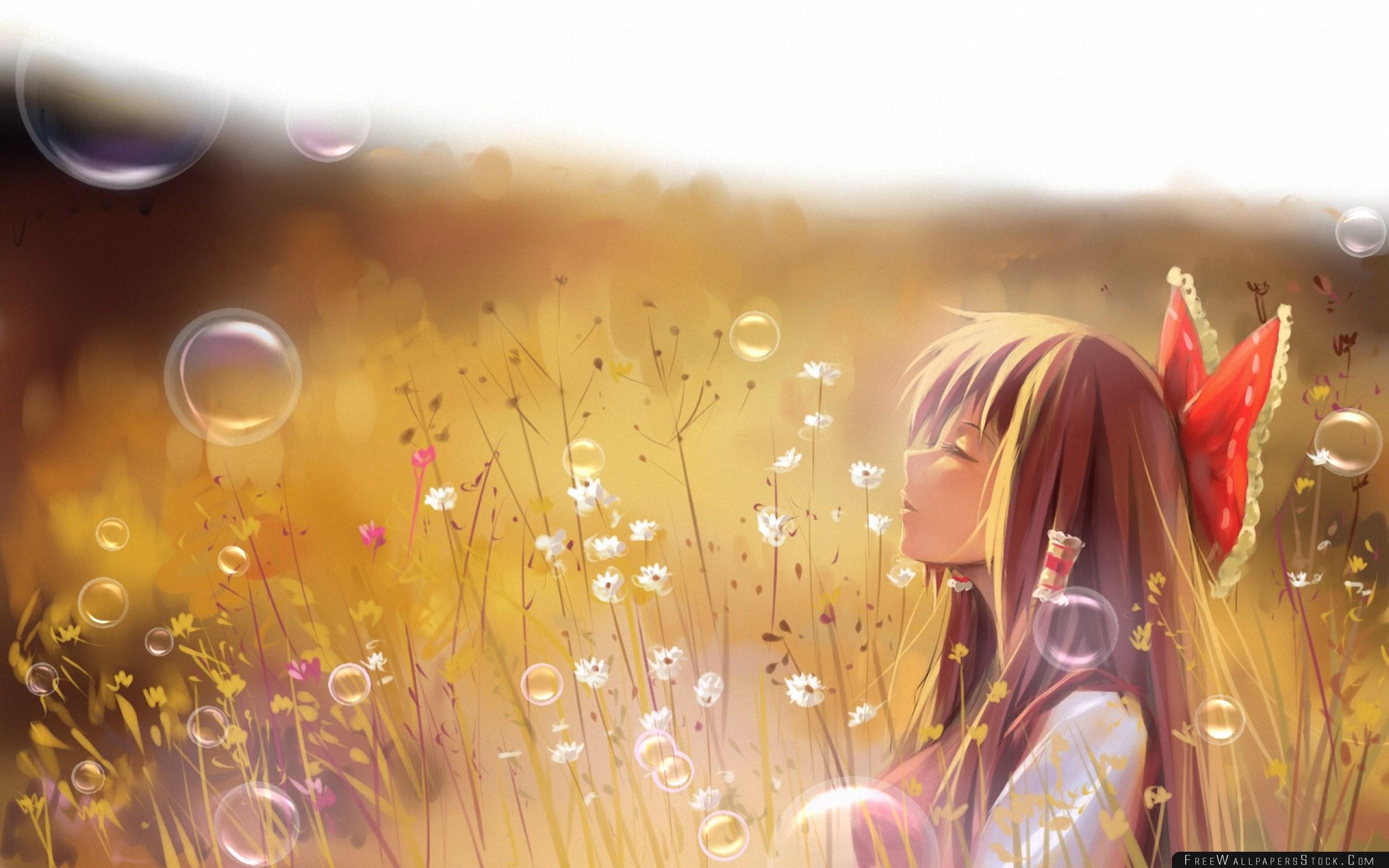 Download Free Wallpaper   Luo Touhou Hakurei Reimu Harmony Girl Field Grass