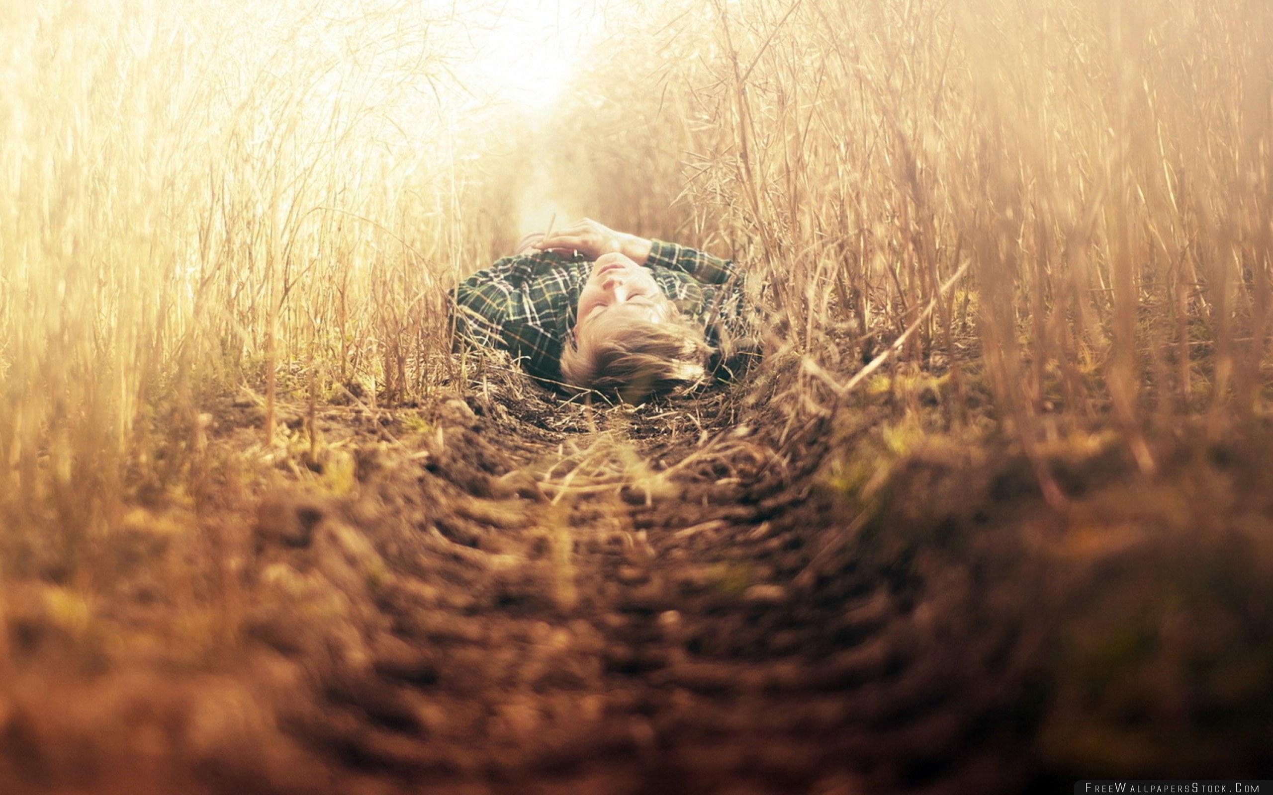 Download Free Wallpaper Boy Grass Path Lying Mood