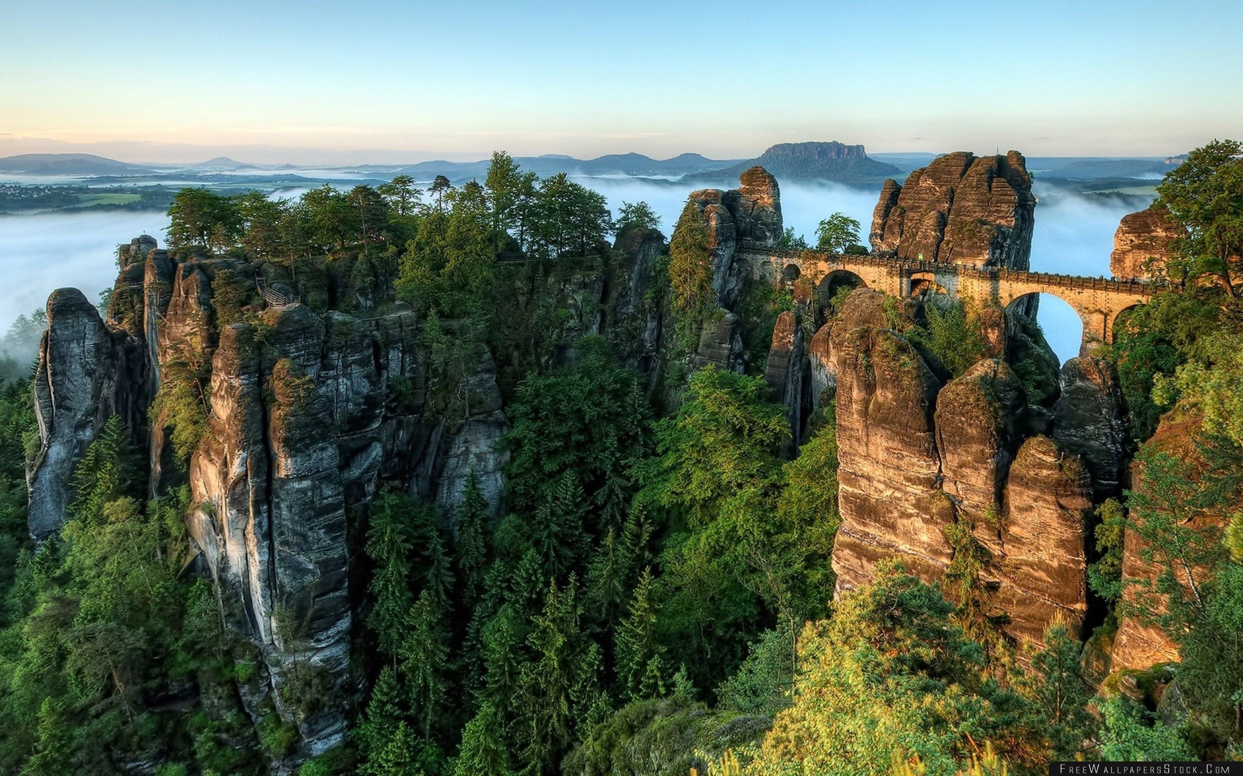 Download Free Wallpaper Bridge Rocks Height Wood Pine Clouds Harmony