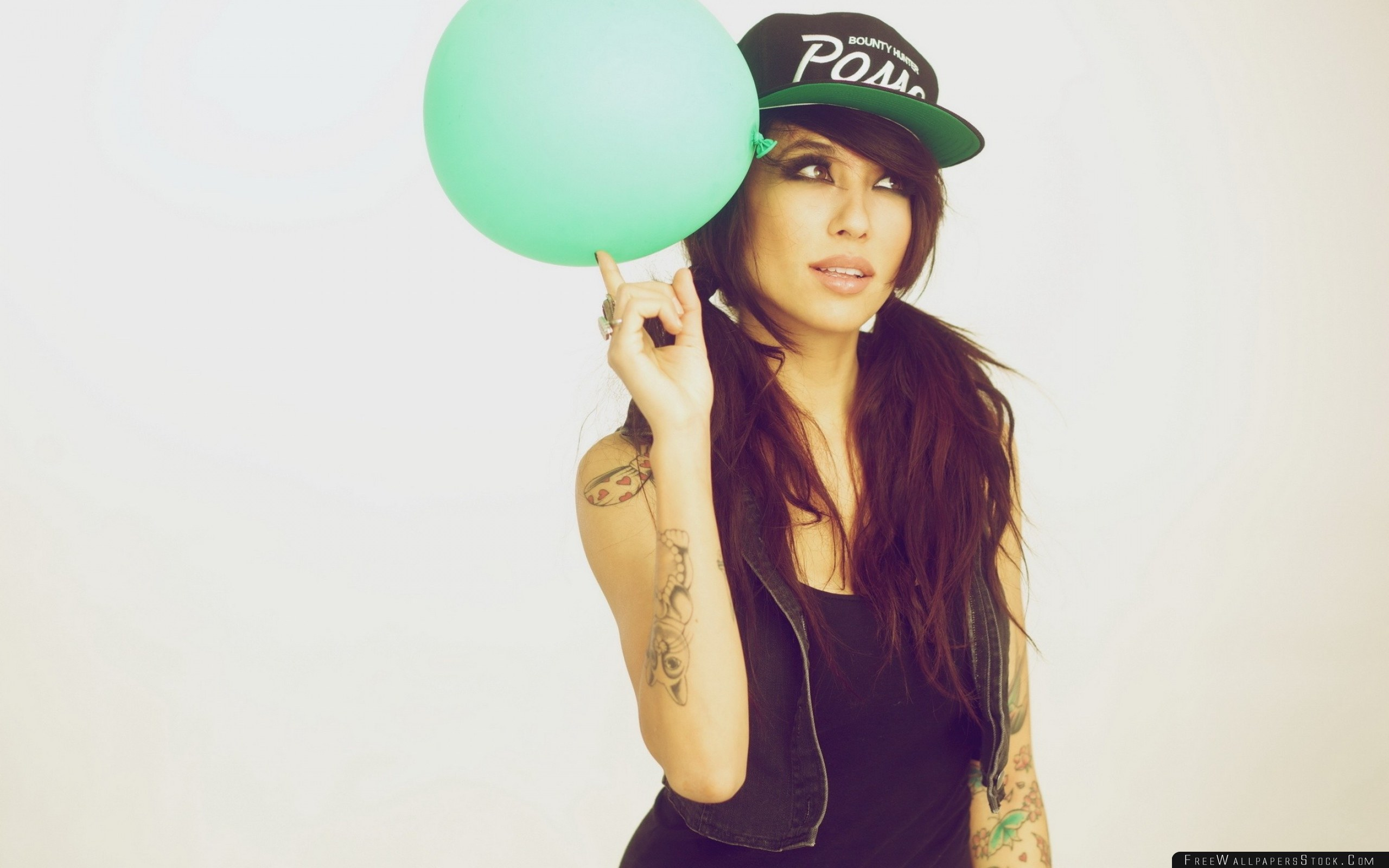 Download Free Wallpaper Brunette Girl Balloon Hat Tattoos Swag