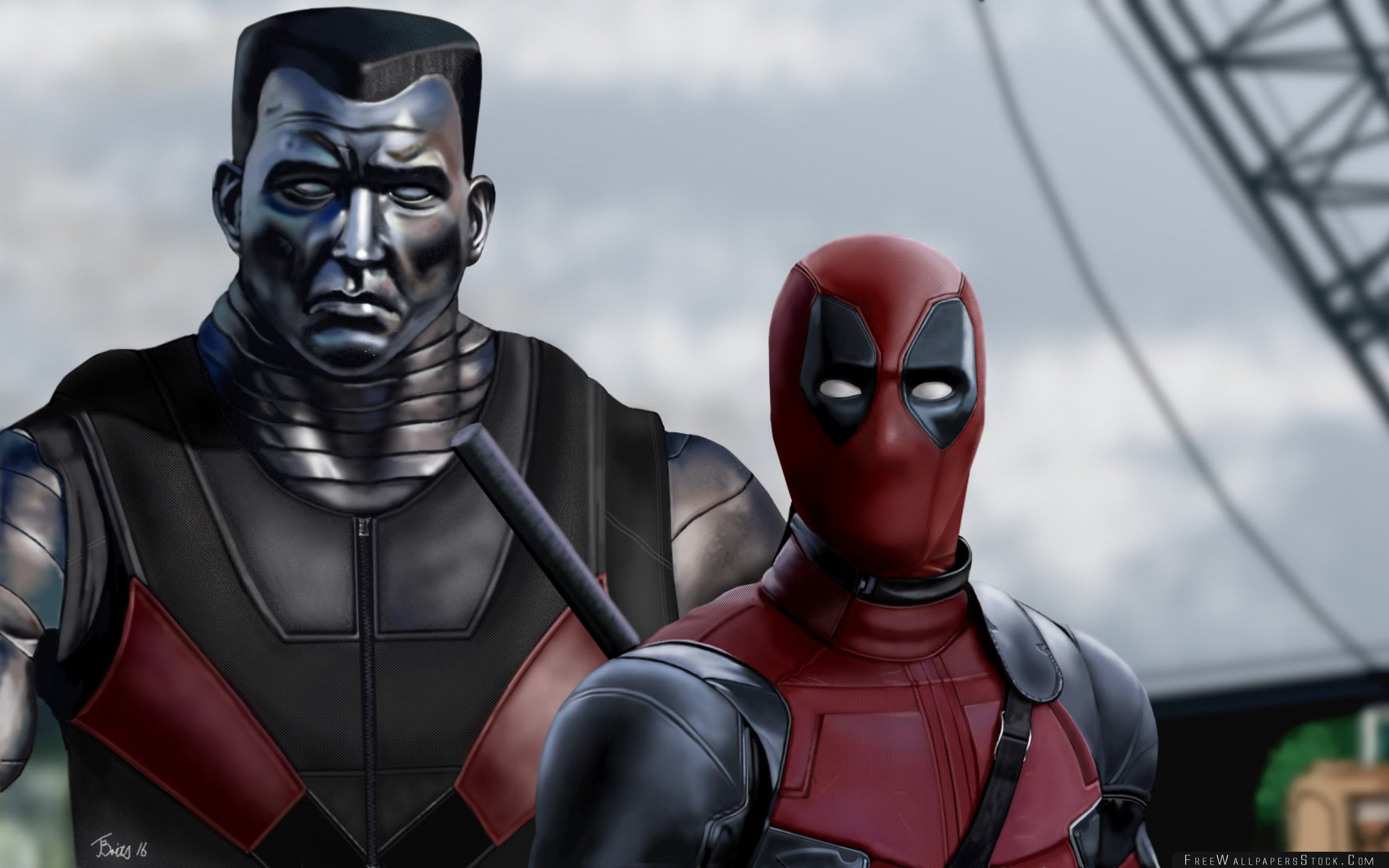 Download Free Wallpaper Deadpool Colossus Art Superheroes