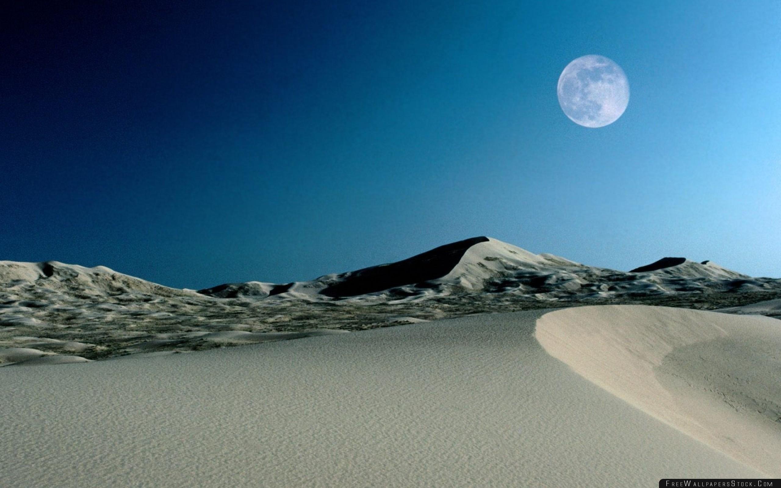 Download Free Wallpaper Moon Sand Dunes Sky Desert