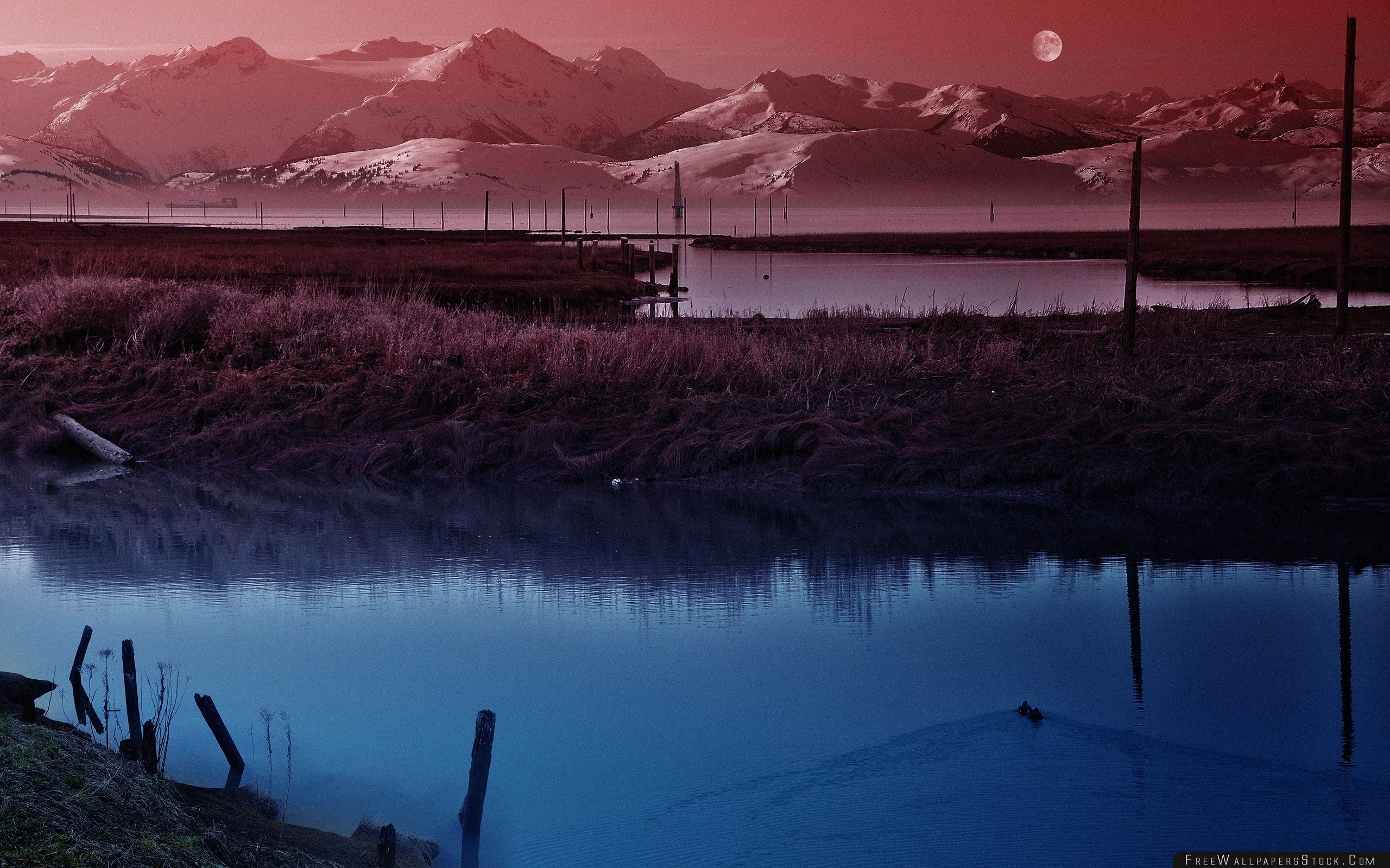 Download Free Wallpaper Moon Sky Pond Wefts Evening Twilight Silence