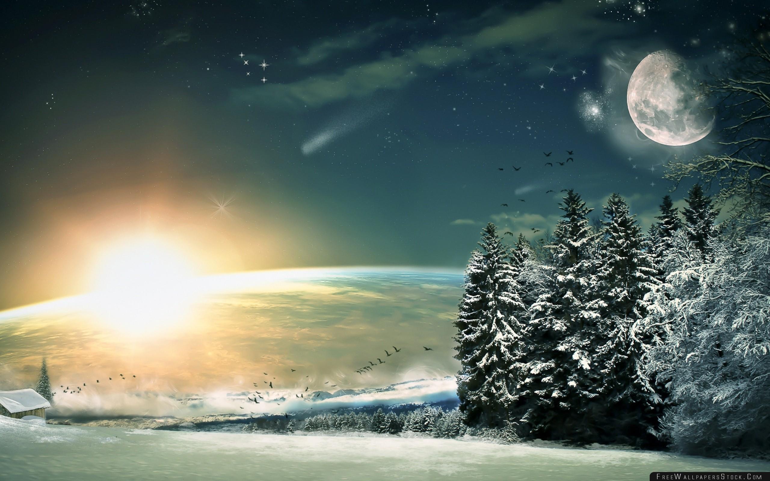 Download Free Wallpaper Moon Stars Night Fantasy Landscape Painting Art Wood Winter