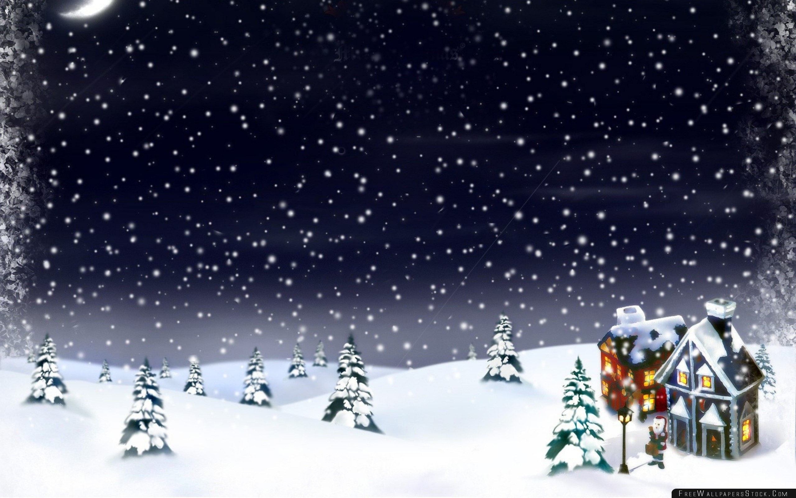 Download Free Wallpaper New Year Christmas Snow Moon House Fur Trees