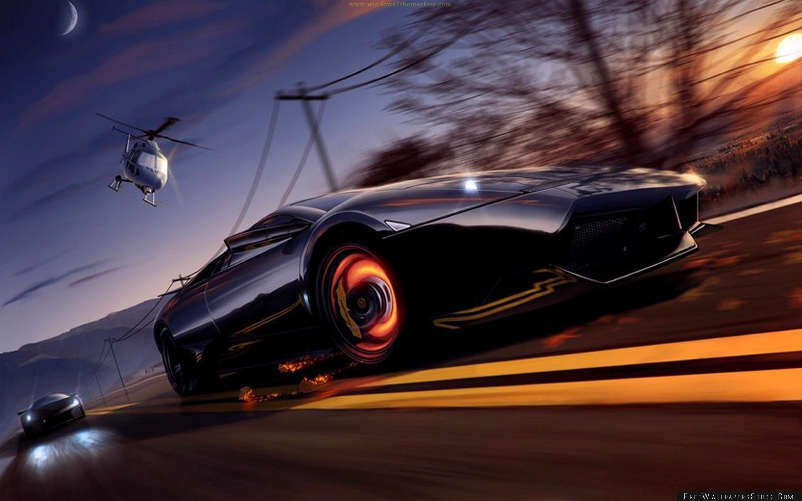 Download Free Wallpaper Nfs Need For Speed Lamborghini Helicopter Road Sunset Moon