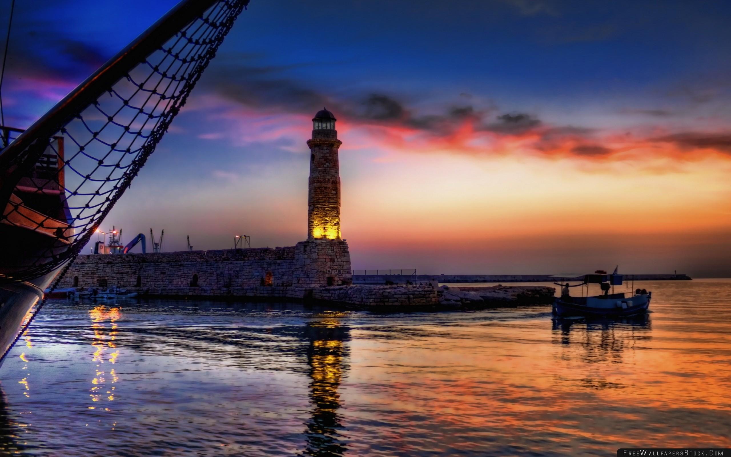 Download Free Wallpaper Night Beacon Light Boat Network